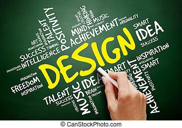 nuage, conception, concept, mot, business