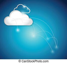 nuage, connexion, réseau, illustration, calculer