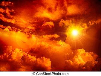 nuage, couleur, ciel, soleil orange, rouges