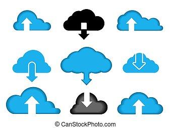 nuage, data., information, informatique, vecteur, ensemble, icons., données