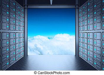 nuage, dehors, serveur, réseau, 3d, salle, concept
