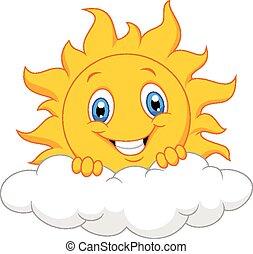 nuage, derrière, heureux, soleil, dessin animé