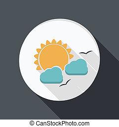 nuage, derrière, papier, soleil, plat, icône