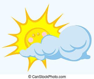 nuage, derrière, soleil souriant