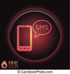 nuage, dialogue., sms, smartphone