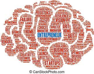 nuage, entrepreneur, mot