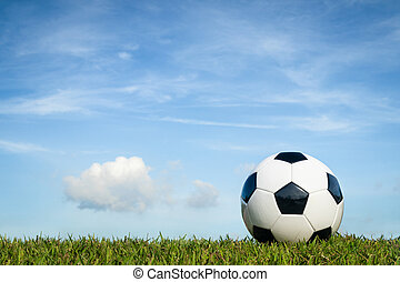 nuage, football, ciel, herbe, fond