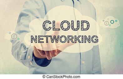nuage, gestion réseau, jeune, pointage, homme