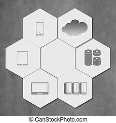 nuage, hexagone, gestion réseau, carreau, icône