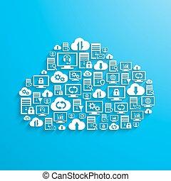 nuage, hosting, réseau, service, icônes