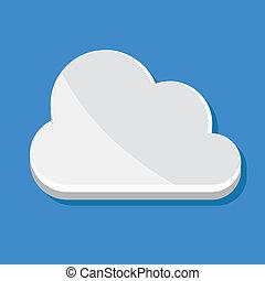 nuage, icône, vecteur