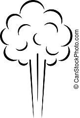 nuage, icône, vecteur, vapeur