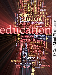 nuage, incandescent, mot, education