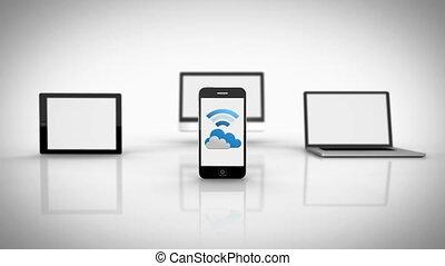 nuage, média, projection, appareils