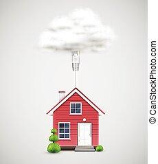 nuage, maison, vecteur, connecté, réaliste