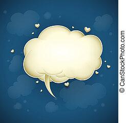 nuage, message, salutation, jour, valentine