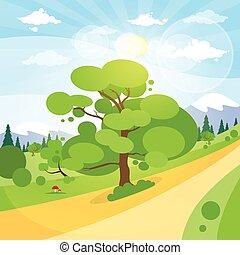 nuage, montagne, arbre, bleu, route, ciel, soleil, été, herbe, paysage, forêt verte, bois