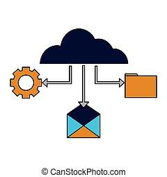 nuage, monture, email, fichier, calculer