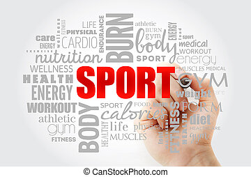 nuage, mot, fitness, sport