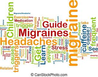 nuage, mot, migraine