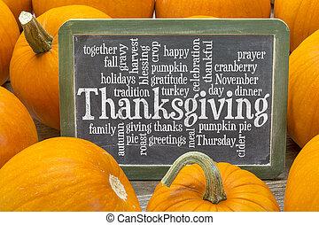 nuage, mot, thanksgiving, célébration