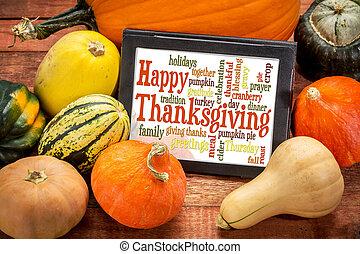 nuage, mot, thanksgiving, tablette, heureux