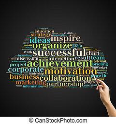 nuage, motivation, concept, mot, business