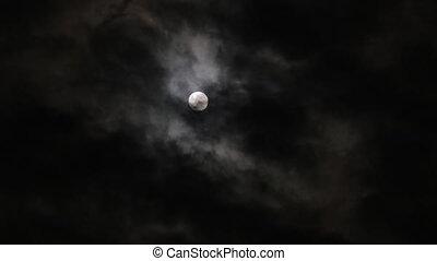 nuage, nuit, pleine lune, timelapse