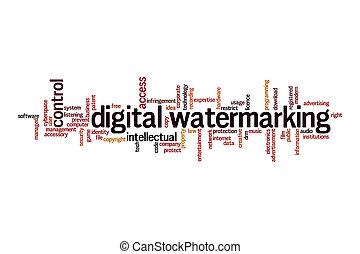 nuage, numérique, watermarking, mot, concept