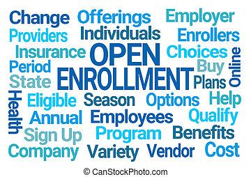 nuage, ouvert, enrollment, mot