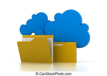 nuage, partage, système, fichier