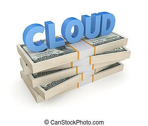 nuage, pile, mot, dollars.