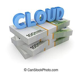 nuage, pile, mot, euro.