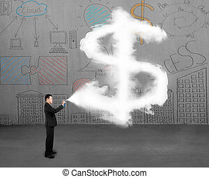 nuage, pulvérisation, signe, homme affaires, dollar, peinture, doodles, forme