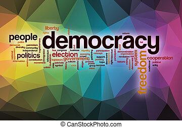 nuage, résumé, mot, fond, démocratie