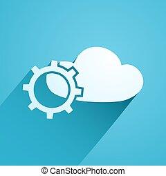 nuage, science, icône