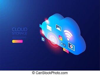 nuage, service, isométrique