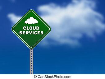 nuage, services, panneaux signalisations