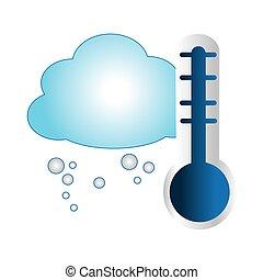 nuage, silhouette, température, coloré, thermomètre