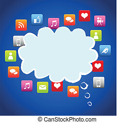 nuage, social, média