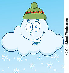 nuage, sourire, flocons neige