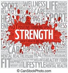 nuage, sport, mot, force, fitness