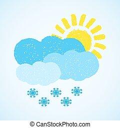 nuage, temps, -, neige, soleil