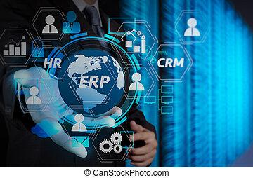 nuage, tenue, sécurité, business, homme affaires, toucher, réseau, internet, icône ordinateur, écran, ligne, main, concept