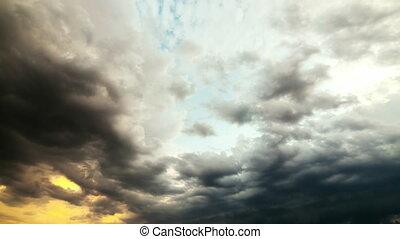 nuage, toile de fond, dramatique, pluie, timelapse