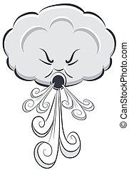 nuage, venteux, souffler, jour, vent