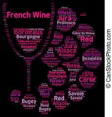 nuage, vins, concept, mot, francais