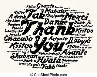 nuage, vous, mot, remercier, fond
