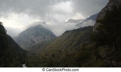 nuage, vue, montagne