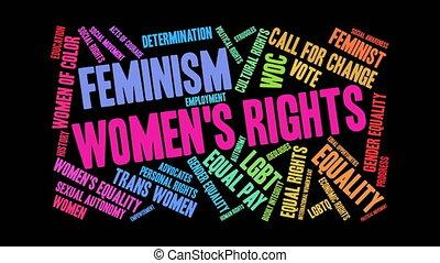 nuage, womens, mot, droits